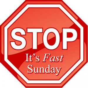 Octagon-shaped red refrigerator magnet with the words Stop It's Fast Sunday