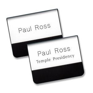Engraved white temple pocket name tags with names and titles.