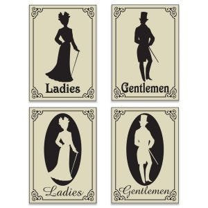 Creative Victorian era styled restroom signs with 2 styles for both ladies and gentlemen.