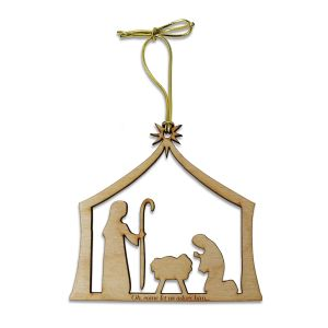 "Birch wooden manger scene ornament with engraved ""oh come let us adore him"" text and tied with golden metallic cord."