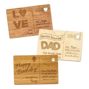 Personalized Wooden Postcards for Birthdays, Holidays, and Annviersaries