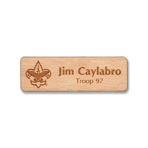 Wooden laser engraved name tag with scouting BSA logo & up to 2 lines of text