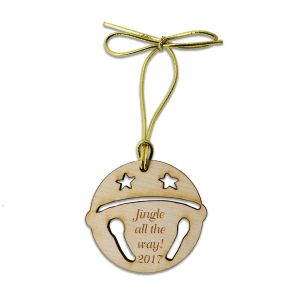 Birch wood sleigh bell Christmas tree ornament with customized engraved text phrase and tied with golden metallic cord.