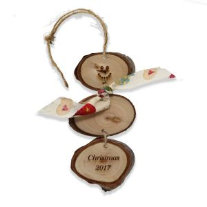 Wooden branches snowman Christmas ornament with twine fastener
