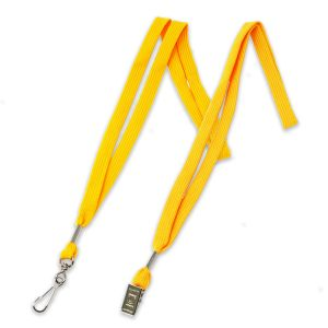 """Yellow 1/2"""" polyester shoelace lanyard with swivel hook fastener and bulldog clip fastener."""