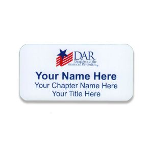 white full color daughters of the american revolution name tag with names and titles