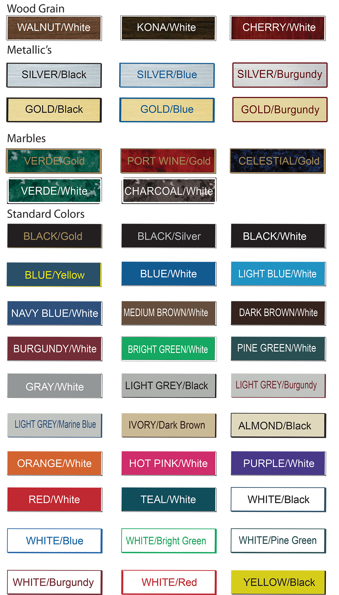a list of colors